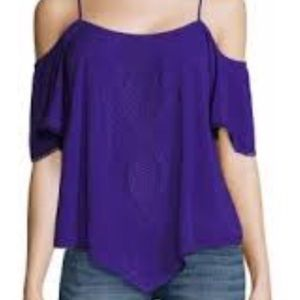 a.n.a. Embroidered purple top